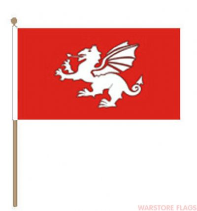 ENGLISH WHITE DRAGON - HAND WAVING FLAG (MEDIUM)
